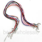 10/100pcs Real Leather Cord With Lobster Clasps Fit Making Charm Necklace 18''