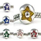 Wholesale Lot 10pcs Star Silver European Spacer Charm Bead For Bracelet Necklace