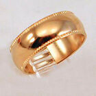 18K Gold Plated Mens Wedding Band 7mm Ribbed Ring Size 9 10 11 12 13 New