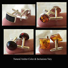 CUFF LINKS BALTIC HONEY or CHERRY AMBER & STERLING SILVER...