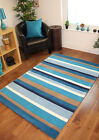 Blue Navy Thick Striped Modern Wool Rugs Hand Carved Small Large XL Quality Mats