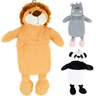 Soft Plush Cute Cuddly Animal Cover With Mini Hot Water Bottle Lion Panda Hippo