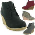 NEW LADIES LACE UP FAUX LEATHER WOMENS ANKLE WEDGE CASUAL SHOES BOOTS SIZE 3-8
