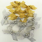 10 x gold or silver lurex  bows with pearl centres 40mm approx