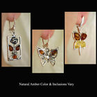 BALTIC HONEY or MULTICOLOR AMBER & STERLING SILVER BUTTERFLY SHAPED EARRINGS