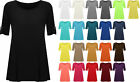 New Plus Size Womens Plain Swing Flared Ladies Short Sleeve Scoop Neck Top 14-28