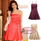 Bow A-line Silk-like Above Knee Cocktail Bridesmaid Prom Frock Dress SJ3201