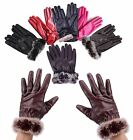 Fashion Women's Winter Warm Comfort Faux Leather Gloves Sheepskin Gloves Driving