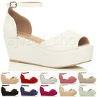 WOMENS LADIES LOW MID HEEL BLOCK WEDGE PLATFORM FLATFORM SANDALS SHOES SIZE