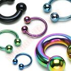 Titanium Anodized Ball Horse Shoe Circular Ring Bar Body Piercing Jewellery
