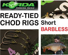 Korda CHOD RIG *SHORT - BARBLESS* : Pack of 3 - For Carp Fishing Coarse Fishing