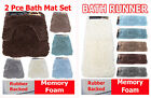 6 Colors & 2 Sizes LONG HAIR - 2 Pce Bath Mat Set or RUNNER Non Slip NEW