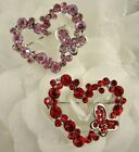 SILVER TONE PINK OR RED HEART AND BUTTERFLY RHINESTONE CRYSTAL BROOCH