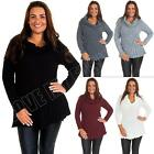 New Womens Ladies Cowl Neck Jumper Dress Frilled Knitted Size 8 10 12 14 S M L