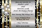Gold & Black Personalised Birthday Party Invitations 18th 21st 30th etc