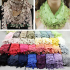 New Elegant Sexy Vintage Women's Triangle Polka Dot Lace Scarf With Funky Tassal