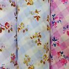Flowers On Gingham Polycotton Fabric