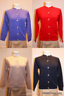 Lona Scott Ladies 2ply Golfer Cardigan Golden Button 100% Cashmere