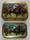 1oz 2oz Tobacco Tin Baccy Box Plectrum Lures container HORSE RACING EQUINE