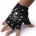 HOT Punk Mens Boys Black PU Leather Skull Nail Driving Motorcycle Gloves(1 PAIR)