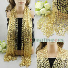 Elegent Sexy Luxury Shining Sequins Shawl Stunning Long Nets Scarf Wrap Cover Up