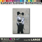 Kissing Coppers BANKSY  Canvas Print Framed Photo Picture Wall Artwork WA