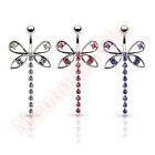 CZ Dragonfly Belly Bar Ring Navel Dangle Body Piercing Jewellery