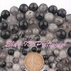 "Natural Round Black Rutilated Gemstone For Jewelry Making Beads 15"" 6mm 8mm 10mm"