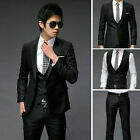 New Mens Fashion Stylish Slim Fit One Buttons Suit Grey/Black Size XS/S/M