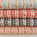 fat quarters cotton fabric floral check dark & light blue red or dusky pink