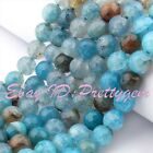 """6.8.10mm Blue Faceted Round Cracked Aagte Onyx Gemstone Spacer Beads Strand 15"""""""