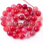 """6MM 10MM 16MM 18MM FACETED ROUND CRACKED RED AGATE GEMSTONE BEADS STRAND 15"""""""