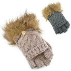 Ladies' Chunky Capped Fingerless Gloves To Mittens Fold Back Hood Faux Fur Cuff