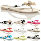 WOMENS LADIES TOE POST BOW DIAMANTE JELLY SUMMER FLAT FLIP FLOP SANDALS SIZE