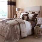 Quilted Damask Gold Chocolate Cream Floral Luxury Duvet Quilt Cover Bedding Set