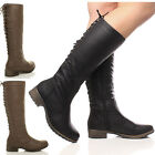WOMENS LADIES LOW HEEL FLAT BIKER LACE UP MILITARY ZIP WIDE CALF KNEE BOOTS SIZE