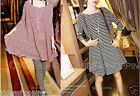 New Hot Casual Fashion Women Swing Striped Soft Cotton Loose Short Shirt Dress