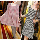 Black & Red Womens Swing Striped Soft Cotton Loose Long T-Shirt Casual Dress
