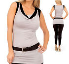 NEW SEXY GRAY & BLACK FITTED Belted MOD STRETCH CLUB TOP S/M/L~Free US Shipping!