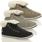 WOMENS LADIES FLAT LACE UP WINTER FUR HI TOPS PUMPS SHOES TRAINERS BOOTS SIZE