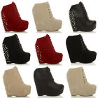 WOMENS LADIES HIGH PLATFORM ZIP LACE UP ANKLE SHOES BOOTS BOOTIES WEDGES SIZE