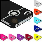 DELUXE COLOR HARD RUBBERIZED ULTRA THIN COVER CASE W/CHROME for iPHONE 4G 4S 4