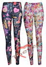 Womens Girls Barbie Doll Print Legging Ladies Tights Trouser SZ-8-14