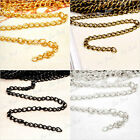 4m-20m Antique Silver/Gold Curb Chains Open Link Finding Metal Chains F Necklace