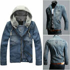 NWT- Mens CLASSIC VINTAGE Denim Hooded Jean Jacket Detachable Cap Hoody Coat