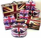 Union Jack / London Wooden CHEST Storage BOX / SUITCASE in Retro Nostalgia Style