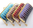 1 pcs in 4 Color Crocodile Pattern Patent Leather Heart Gold Metal Clutch Wallet