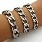 11/13/15mm Mens Boys Chain Curb Link Silver Stainless Steel Bracelet 7-11inch