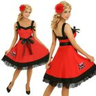 Adult 50s Pin Up Red Swing Dress Costume 1950s Rockabilly Fancy Dress Outfit