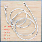 "1.9mm MEN/WOMENS SILVER PLATING LONG SNAKE CHAIN NECKLACE 16.5"",18"",20"",22"",24"""
